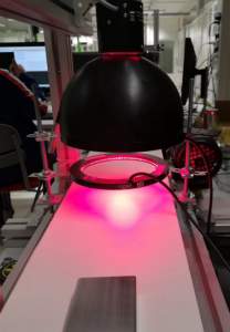 Kuvassa valaisuratkaisu, jossa käytetään suurta mustaa kupolivalaisin, joka tuottaa pinkkiä valoa.