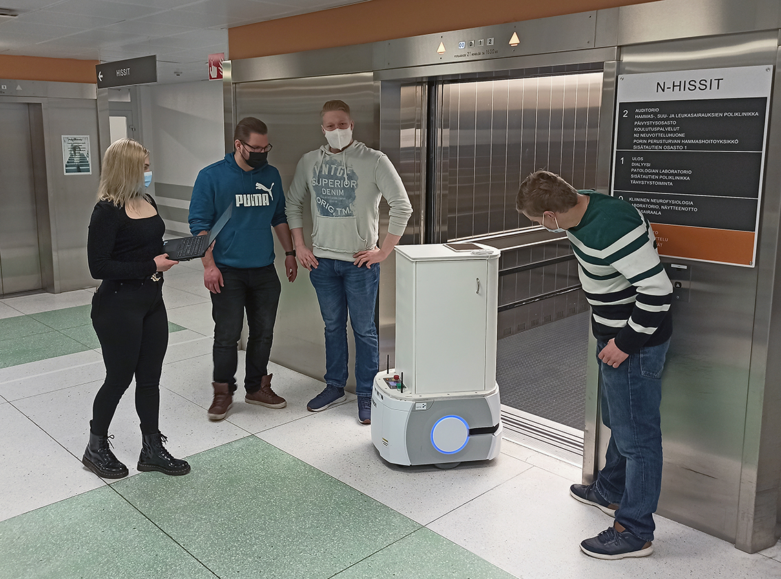 Mobile robot needed to be manually guided into the lift.