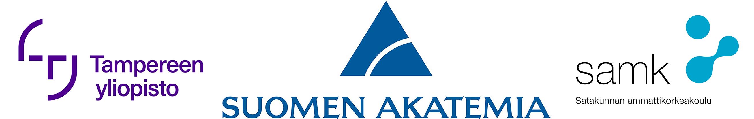 Vasemmalla Tampereen yliopiston logo, keskellä Suomen Akatemian logo ja oikeassa reunassa Satakunnan ammattikorkeakoulun logo.