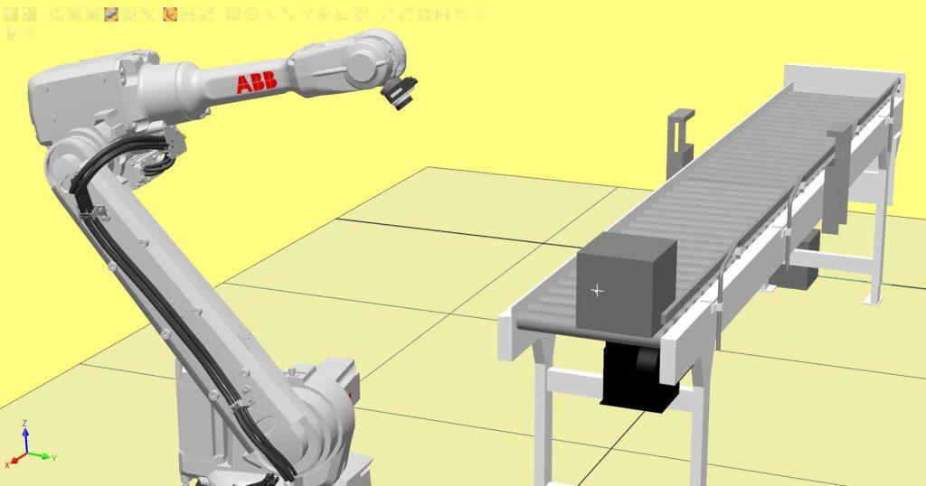 Simulaatiokuva automaatioratkaisusta, jossa robotti skannaa kappaleen liukuhihnalla.